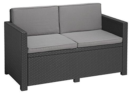 Allibert 233822 Lounge Sofa, Balkon, Victoria, grafit/cool grau, 129 x 63 x 77 cm, wetterbeständiges Lounge Sofa, Rattan
