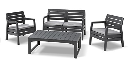 Allibert Lounge Delano Sessel-Sofa Set mit Lyon Tisch, graphit/cool grau, lounge set garten, 124 x 65 x 77 cm, 232951