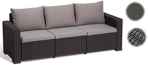 Allibert Lounge Sofa 233053, Balkon, Lounge California Sofa, 199 x 68 x 72 cm, graphit/panama cool grau