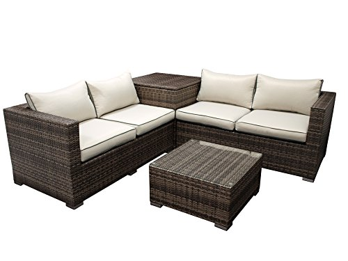DEGAMO Lounge Set CAVOLI, Eckgruppe mit integrierter Kissenbox, Aluminium + Geflecht grau/braun, Glastisch