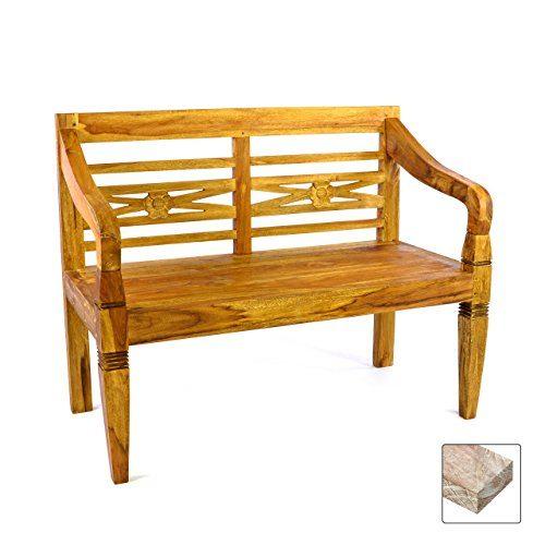 DIVERO 2-Sitzer antike Gartenbank 115 cm massiv Teak-Holz Handarbeit 2 Personen Bank mit Schnitzereien natur