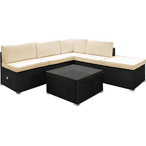 Deuba Luxus Poly Rattan Lounge Set Creme Schwarz XXL | wetterbeständiges Aluminium-Gestell | Einzelelemente flexibel kombinierbar | UV-beständiges Polyrattan | Sitzgarnitur Couch Sitzgruppe