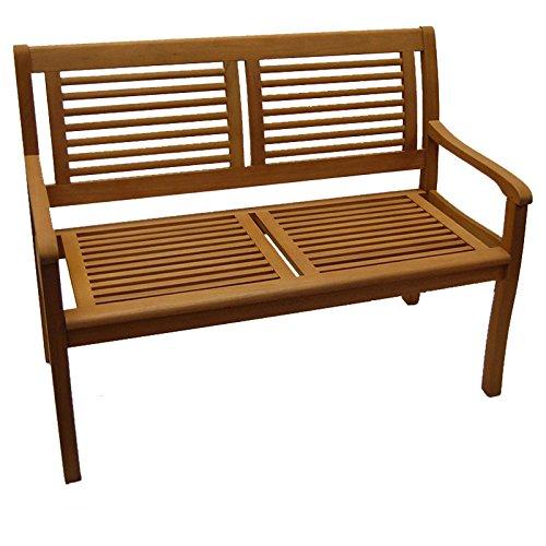 Gartenbank Paolo 2-Sitzer Eukalyptus Hartholz Teakfarbig lasiert