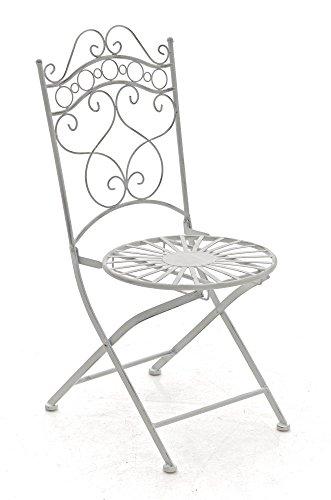 Gartenstuhl CP569, Bistrostuhl Klappstuhl, Metall ~ Antik-Weiß