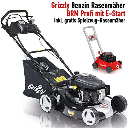 Grizzly Benzin Rasenmäher BRM 4613 Elektrostart auf Knopfdruck Selbstantrieb 46 cm Schnittbreite Stahlgehäuse 4 Takt OHV Motor 135cc inkl. Kinder Rasenmäher