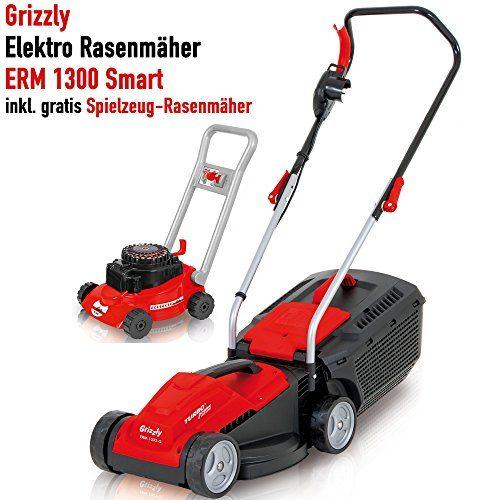 Grizzly Elektro Rasenmäher ERM 1333 1300 W Turbo Power Motor 33 cm Schnittbreite 30 Liter Fangbox mit Tragegriff Inkl. Kinder Rasenmäher