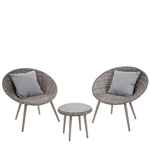 Luxus Poly-Rattan-Garnitur Madrid, Premium Lounge-Set Gartengarnitur, Alu-Gestell ~ naturgrau