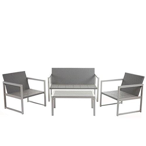 Mendler 2-1-1 Alu-Garten-Garnitur Split, Sitzgruppe Lounge-Set, Poly-Rattan ~ Ohne Kissen