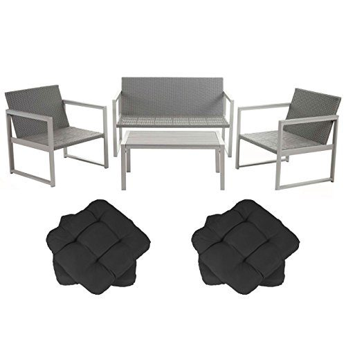 Mendler 2-1-1 Alu-Garten-Garnitur Split, Sitzgruppe Lounge-Set, Poly-Rattan ~ mit 4 Kissen Anthrazit
