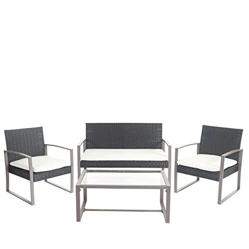Mendler 2-1-1 Poly-Rattan Garten-Garnitur Siana, Sitzgruppe Incl. Kissen, Extra Breite Sitze ~ Anthrazit