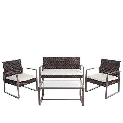 Mendler 2-1-1 Poly-Rattan Garten-Garnitur Siana, Sitzgruppe Incl. Kissen, Extra Breite Sitze ~ Braun