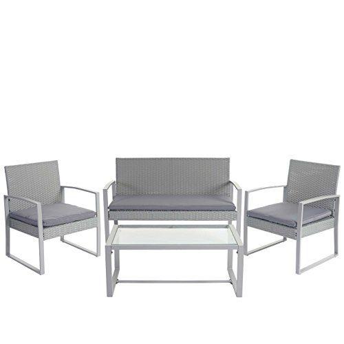 Mendler 2-1-1 Poly-Rattan Garten-Garnitur Siana, Sitzgruppe Incl. Kissen, Extra Breite Sitze ~ Grau