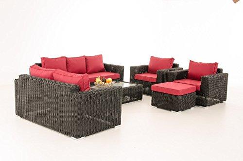 Mendler 3-2-1-1 Sofa-Garnitur CP050 Lounge-Set Gartengarnitur Poly-Rattan ~ Kissen Rubinrot, Schwarz
