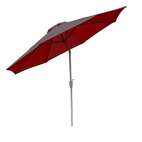 Mendler Alu Sonnenschirm Gartenschirm N19 300cm, neigbar, rostfrei ~ rot