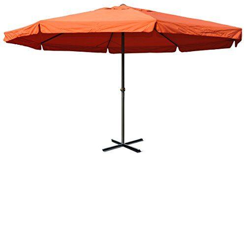 Mendler Alu-Sonnenschirm Meran, Gastronomie Marktschirm mit Volant Ø 5m ~ terrakotta ohne Ständer