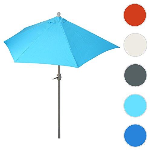 Mendler Alu-Sonnenschirm halbrund Parla, Halbschirm Balkonschirm, UV 50+ ~ 270cm Türkis Ohne Ständer
