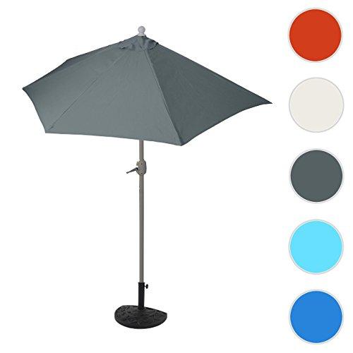 Mendler Alu-Sonnenschirm halbrund Parla, Halbschirm Balkonschirm, UV 50+ ~ 300cm Anthrazit mit Ständer