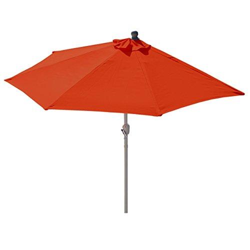 Mendler Alu-Sonnenschirm halbrund Parla, Halbschirm Balkonschirm, UV 50+ ~ 300cm Terrakotta Ohne Ständer