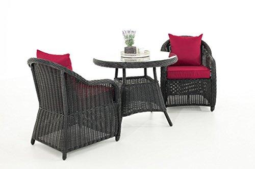Mendler Garten-Garnitur CP063, Sitzgruppe Lounge-Garnitur, Poly-Rattan ~ Kissen Rubinrot, Schwarz