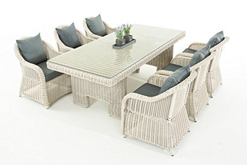 Mendler Garten-Garnitur CP065, Sitzgruppe Lounge-Garnitur, Poly-Rattan ~ Kissen eisengrau, perlweiß