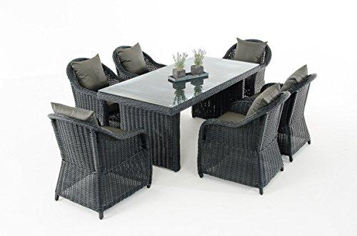 Mendler Garten-Garnitur CP071, Sitzgruppe Lounge-Garnitur Poly-Rattan ~ Kissen Anthrazit, Schwarz