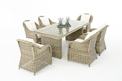 Mendler Garten-Garnitur CP071, Sitzgruppe Lounge-Garnitur Poly-Rattan ~ Kissen Creme, Natur
