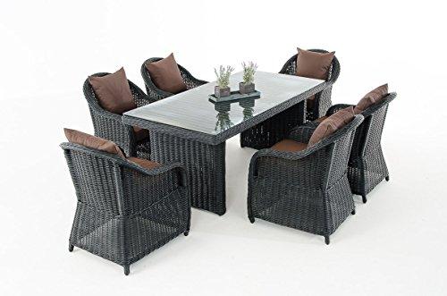 Mendler Garten-Garnitur CP071, Sitzgruppe Lounge-Garnitur Poly-Rattan ~ Kissen terrabraun, Schwarz