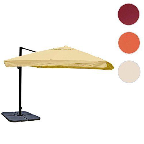 Mendler Gastronomie-Luxus-Ampelschirm Sonnenschirm HWC, Alu 4,3 m ~ Flap, Creme mit Ständer, Drehbar