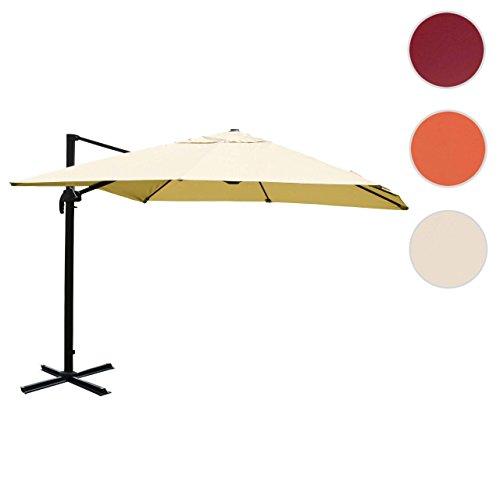 Mendler Gastronomie-Luxus-Ampelschirm Sonnenschirm HWC Aluminium, 4,3 m ~ Creme Ohne Ständer, Drehbar
