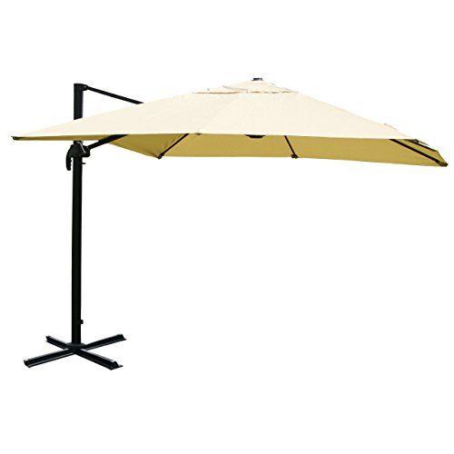Mendler Gastronomie-Luxus-Ampelschirm Sonnenschirm N22 Aluminium, 4,3 m ~ creme ohne Ständer, drehbar