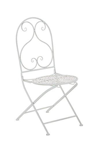 Mendler Klappstuhl CP039, Gartenstuhl Bistrostuhl ~ Antik-Weiß
