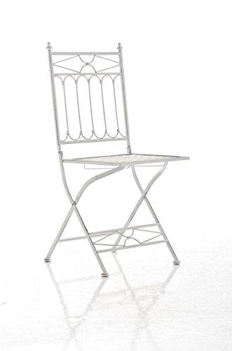 Mendler Klappstuhl CP263, Gartenstuhl ~ Antik-Weiß