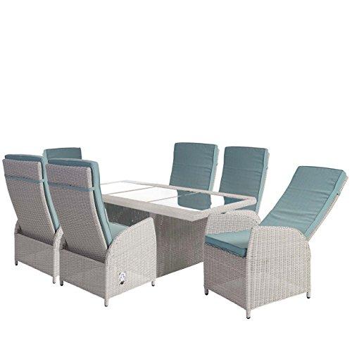 Mendler Luxus Poly-Rattan-Garnitur Badalona, Premium Alu-Sitzgruppe Tisch + 6 Verstellbare Stühle ~ Hellgrau