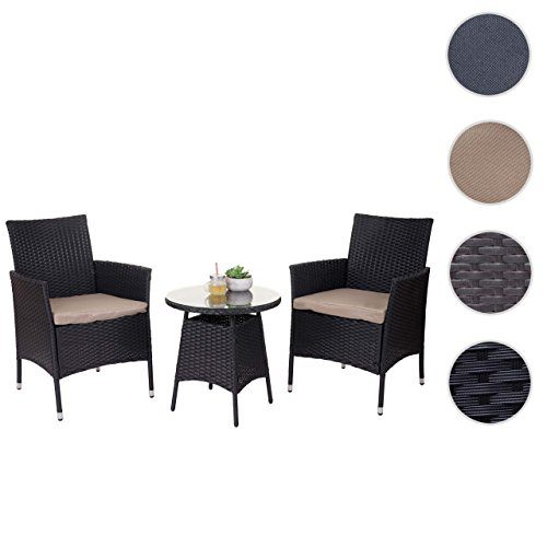 Mendler Poly-Rattan-Garnitur HWC-A82, Balkon-Set Gartenmöbel Sitzgarnitur ~ Anthrazit, Kissen Creme