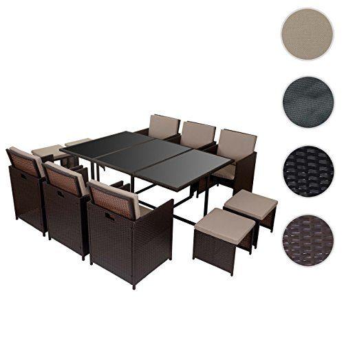 Mendler Poly-Rattan Garten-Garnitur Kreta, Lounge-Set Sitzgruppe 10 Sitzplätze ~ Braun, Kissen Beige