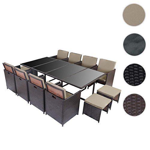 Mendler Poly-Rattan Garten-Garnitur Kreta, Lounge-Set Sitzgruppe 12 Sitzplätze ~ Braun, Kissen Beige
