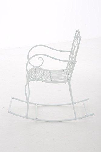 Mendler Schaukelstuhl CP038, Gartenstuhl ~ Weiß