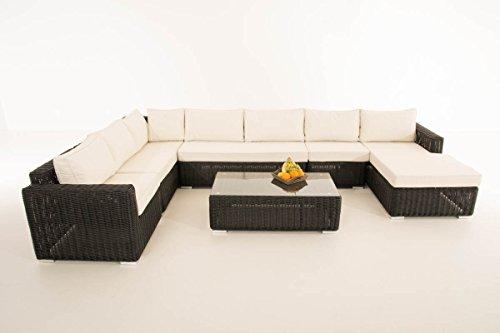 Mendler Sofa-Garnitur CP054, Lounge-Set Gartengarnitur, Poly-Rattan ~ Kissen Creme, Schwarz