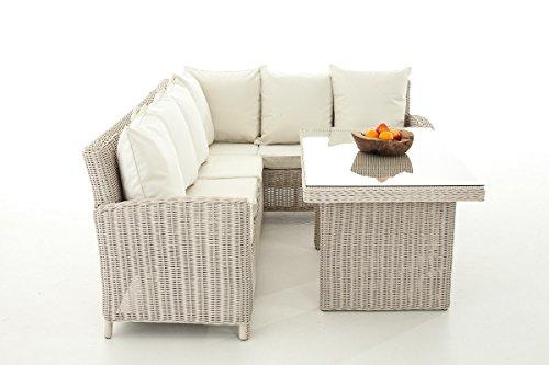 Mendler Sofa-Garnitur CP056, Lounge-Set Gartengarnitur, Poly-Rattan ~ Kissen Creme, perlweiß