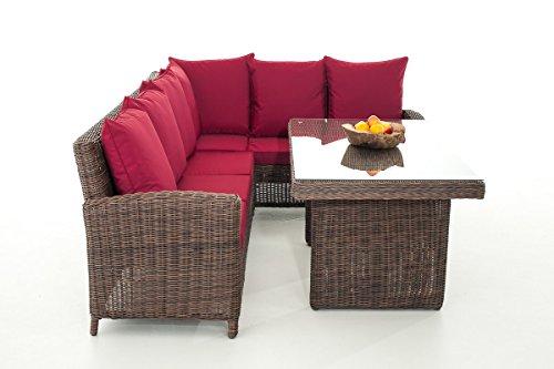 Mendler Sofa-Garnitur CP056, Lounge-Set Gartengarnitur, Poly-Rattan ~ Kissen Rubinrot, Braun-Meliert