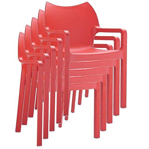 Mendler Stapelstuhl Bistrostuhl Gartenstuhl Kunststoff C43 ~ rot