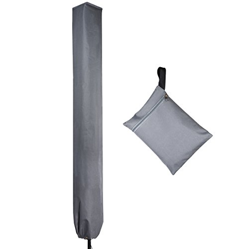 PATIO PLUS Sonnenschirm Schutzhülle, wasserdichte Hülle für Schirme – Schirmhülle Ampelschirm, wetterfeste Abdeckung für Gartenschirme 2 bis 3 Meter Durchmesser, Farbe: grau
