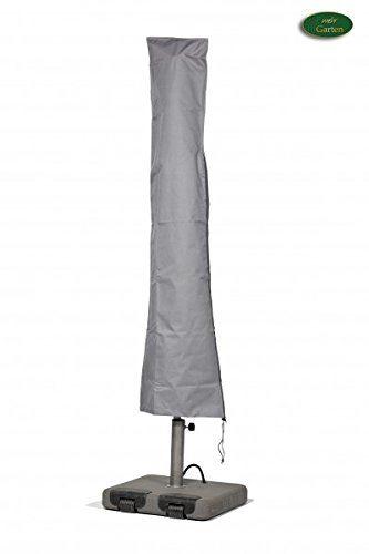 Premium Schutzhülle für Marktschirm/Sonnenschirm aus Polyester Oxford 600D - lichtgrau - von 'mehr Garten' - Durchmesser 350 bis 450 cm