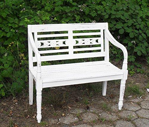 Teak Landhaus Bank Parkbank Gartenbank Blumen Bank 2 Sitzer Shabby Chic white washed Antik Weiss