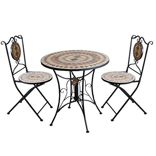 3tlg. Gartengarnitur Mosaiktisch Metall Ø70cm + 2X Mosaik Klappstuhl Kacheldesign Sitzgarnitur Balkonmöbel