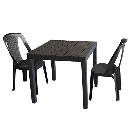 3tlg Gartenmöbel-Set Gartentisch, Kunststoff Anthrazit, 78x78cm, Holzoptik + 2x Stapelstuhl Procida, Kunststoff Anthrazit, Rattan-Look