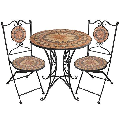 3tlg. Mosaik Gartengarnitur Mosaiktisch Ø70cm + Klappstühle Sitzgarnitur Sitzgruppe Gartenmöbel Balkonmöbel