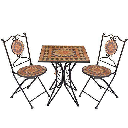 3tlg. Mosaik Sitzgarnitur Gartengarnitur Terrassenmöbel Balkonmöbel Sitzgruppe 2x Klappstuhl Mosaiktisch 70x70cm