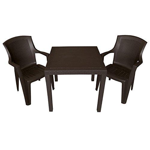 3tlg. Sitzgruppe Balkonmöbel Set Sitzgarnitur 79x79cm Rattan-Look Vollkunststoff Terrassenmöbel Stapelstuhl Mokka
