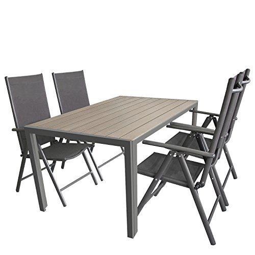 5tlg. Sitzgarnitur, Aluminium Gartentisch Tischplatte Polywood Grau 150x90cm, 4x Aluminium-Hochlehner mit 2x2 Textilenbespannung, 7-fach verstellbar, klappbar, anthrazit - Sitzgruppe Gartengarnitur Gartenmöbel